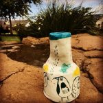 Oliva Villet ceramic vase with bird design at Zulu Lulu gallery - Piggly Wiggly